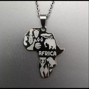 Africa necklaces in black, silver or gold tone